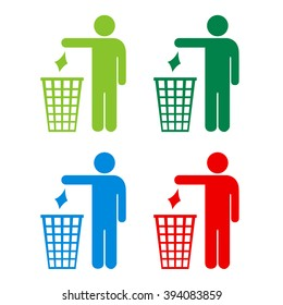 No littering icons set, vector illustration isolated on white background