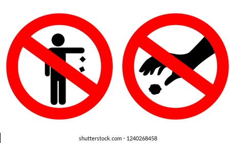 No littering keep clean vector pictogram on white background,