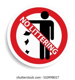 No littering sign on white background.vector illustration