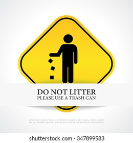 No littering sign vector illustration isolated on white background