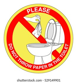 No littering in toilet sign on white background. Vector.