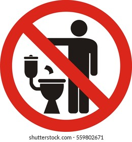 No littering in toilet sign on white background