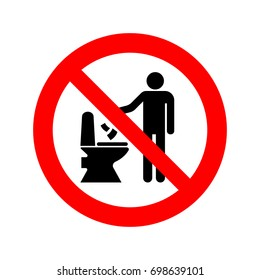 No littering in toilet sign vector icon.