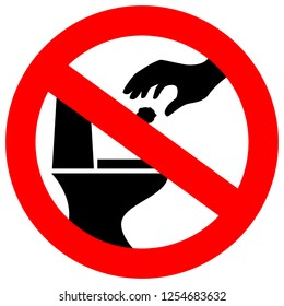No littering in toilet vector sign illustration isolated on white background
