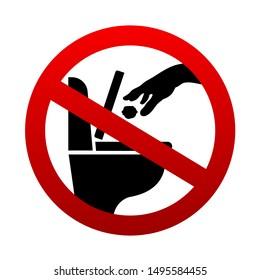 No littering in toilet vector sign