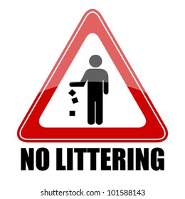 No littering triangle sign, eps10 illustration
