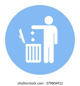No littering, use trash can icon. Vector illustration isolated on white background