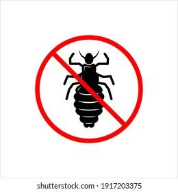 No Louse Icon, Lice Free Icon, Anti Lice, Wingless Insect, Obligate Parasite Vector Art Illustration
