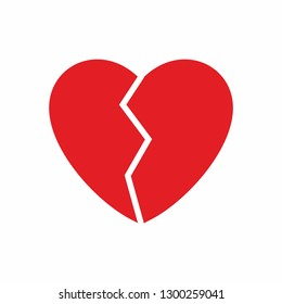No love symbol vector. The red heart is broken, two separate part of heart that can combine to the to the one