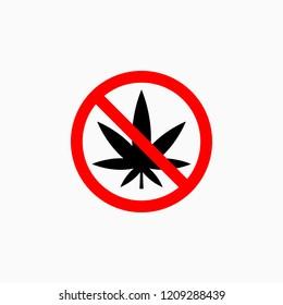 no marijuana icon, no cannabis vector