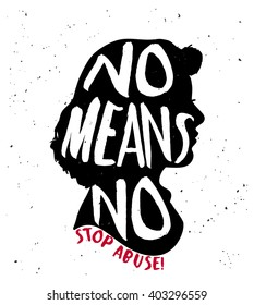 No means no quote on woman silhouette