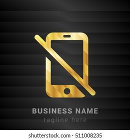 No Mobile Gold and Black silk fashion premium icon / Logo