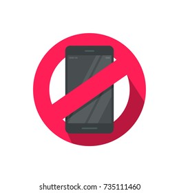No mobile phone sign vector illustration, flat cartoon stop using cellphone zone sign, smartphone forbidden icon isolated on white