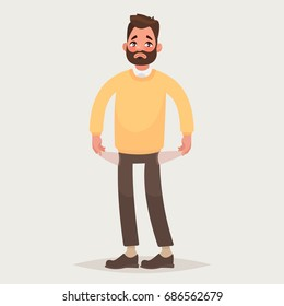 No money.  Man with pockets turned outward. Vector illustration in cartoon style