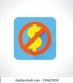 No Money. Vector flat icon.