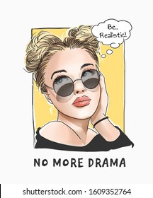 no more drama slogan with cartoon girl in sunglasses illustration