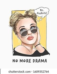 no more drama slogan with cartoon girl in sunglasses illustration