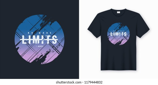 No more limits stylish abstract vector t-shirt and apparel design, print, typography. Global swatches.