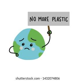 No more plastic sad earth cartoon vector illustration