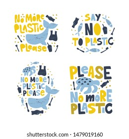 No more plastic word concept banners set. Environment pollution, ecological problem isolated vector illustrations. Planet protection t shirt print idea. Whale, turtle, fish swimming in garbage clipart