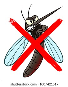 No mosquito cartoon sign