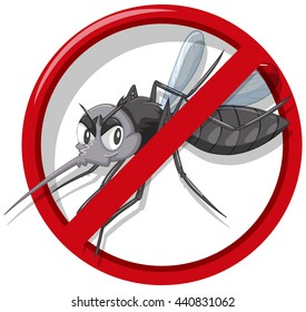 No mosquito sign on white background illustration