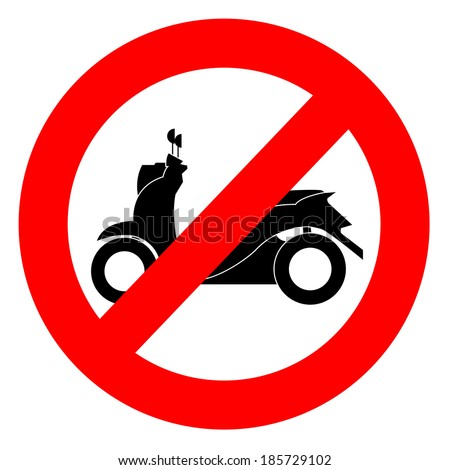 No Motorcycle No Parking Sign Stock Vector Royalty Free 185729102