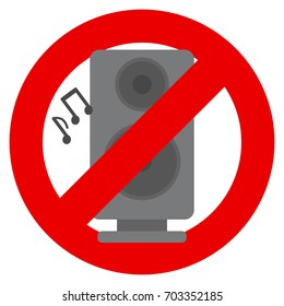 No music prohibition sign vector illustration. Flat style design. Colorful graphics