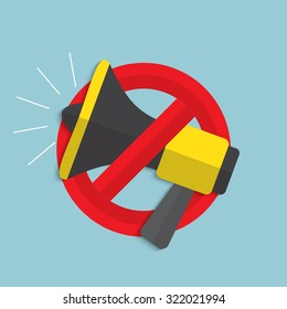 No noise concept. Megaphone for website and promotion banners. Flat design.