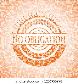 No obligation abstract emblem, orange mosaic background