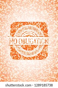 No obligation abstract emblem, orange mosaic background
