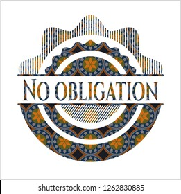 No obligation arabic badge background. Arabesque decoration.