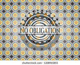 No obligation arabic style badge. Arabesque decoration.