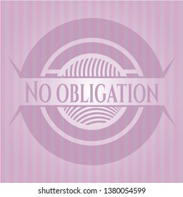 No obligation badge with pink background