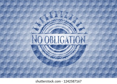 No obligation blue emblem with geometric background.