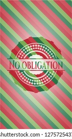 No obligation christmas colors emblem.