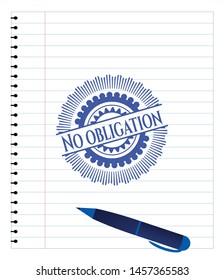 No obligation pen strokes emblem. Blue ink. Vector Illustration. Detailed.