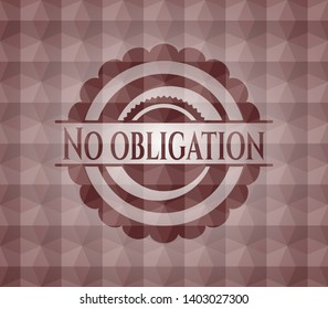 No obligation red badge with geometric background. Seamless.