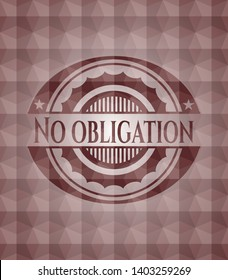 No obligation red badge with geometric pattern background. Seamless.