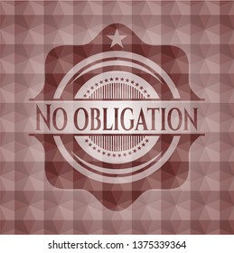 No obligation red seamless polygonal badge.