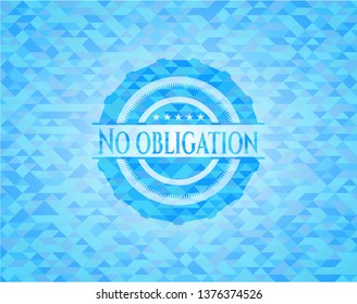 No obligation sky blue emblem with mosaic ecological style background