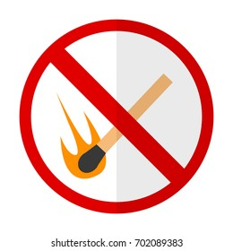 No open flame prohibition sign flat icon, vector sign, colorful pictogram isolated on white. Symbol, logo illustration. Flat style design