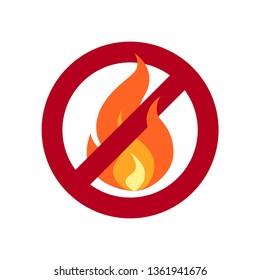 No open flame sign. Simple vector illustration of a fire in flat style