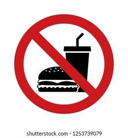 No outside fast food sign with red banned sign, hamburger and soda drink flat vector icon