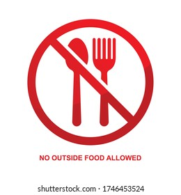 No outside food allowed sign isolated on white background vector illustration.