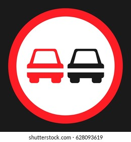 No Overtaking prohibited sign flat icon, Traffic and road sign, vector graphics, a solid pattern on a black background, eps 10.
