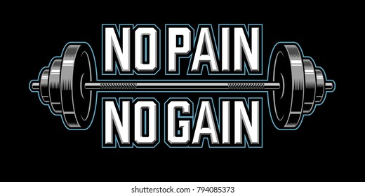 No pain no gain. Bodybuilding banner with barbells. Vector illustration