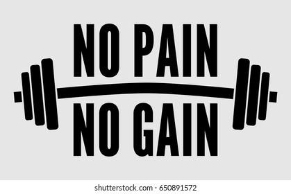 No pain no gain dumbbell vector