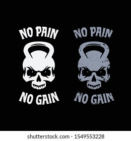 No pain no gain poster. Skull kettlebell symbol clean and grunge style. Workout sports related motivational print for t-shirts apparel design. Vector vintage illustration.