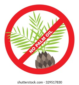 No palm oil label with palm and red ban.